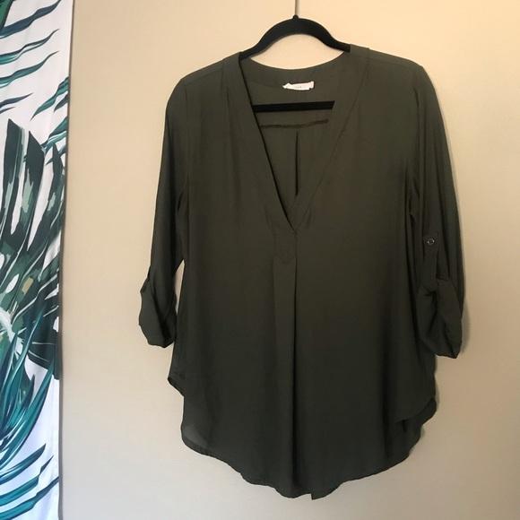 Lush Tops - Lush olive green draping v-neck blouse